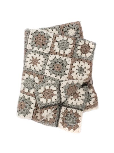Crochet Baby Blanket Kit Modern Granny Square Soft British Alpaca