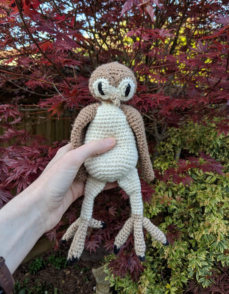 White Snow Owl In Amigurumi Version Posing In The Garden Stock ... | 1024x800