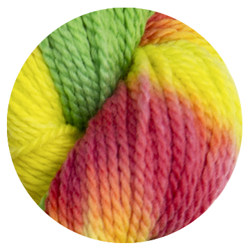 TOFT luxury hand dyed yellow green and pink yarn in DK