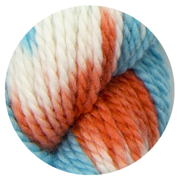 TOFT luxury hand dyes orange blue and cream yarn in DK