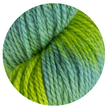 TOFT luxury hand dyed blue and green yarn in DK