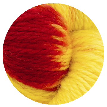 TOFT luxury hand dyed yellow and red yarn in DK