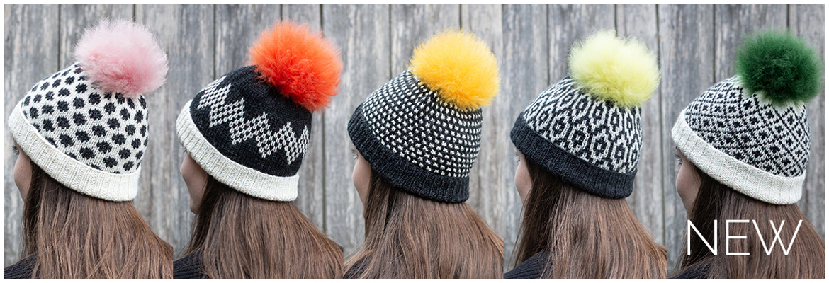 TOFT British wool modern knitting kits and pom pom hats